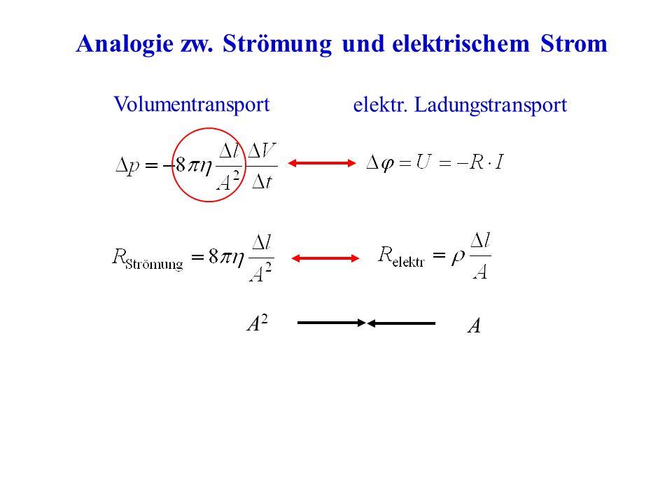 Analogie zw. Strömung und elektrischem Strom