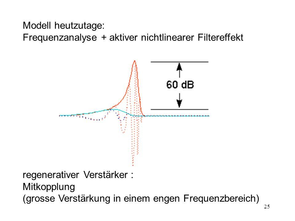 Modell heutzutage: Frequenzanalyse + aktiver nichtlinearer Filtereffekt