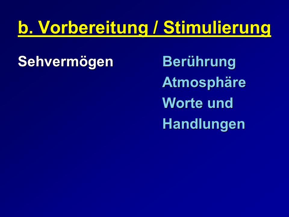 b. Vorbereitung / Stimulierung