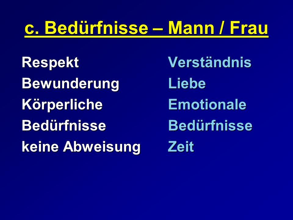 c. Bedürfnisse – Mann / Frau
