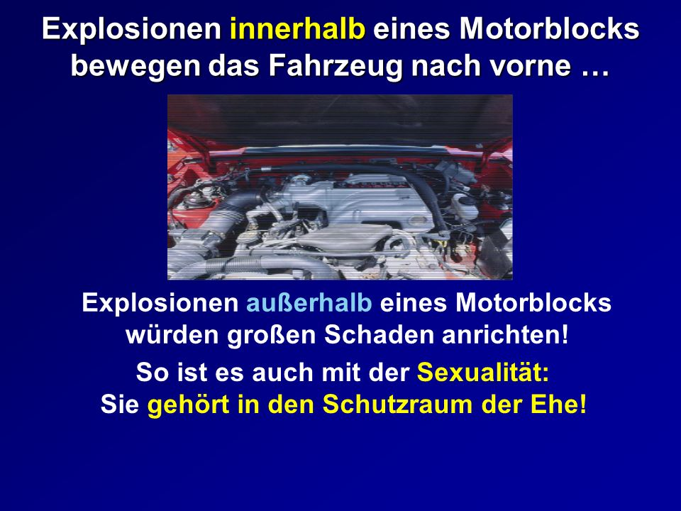 Explosionen innerhalb eines Motorblocks bewegen das Fahrzeug nach vorne …