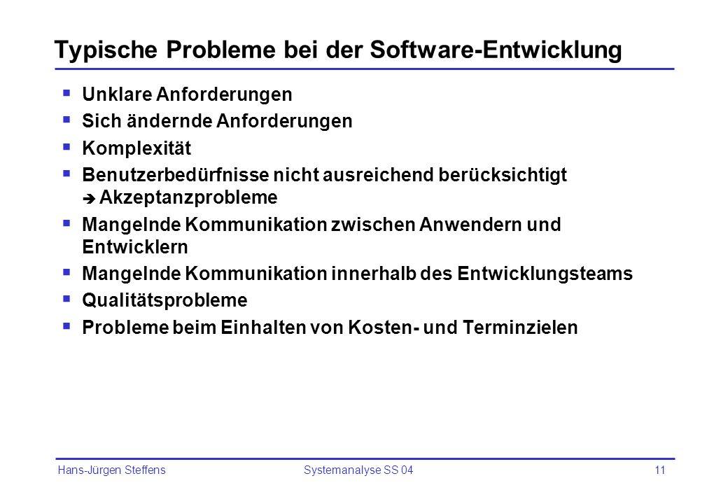 Typische Probleme bei der Software-Entwicklung