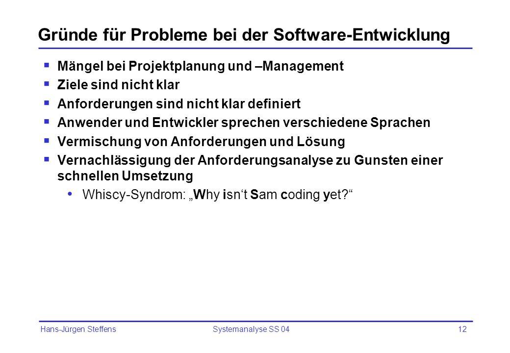 Gründe für Probleme bei der Software-Entwicklung