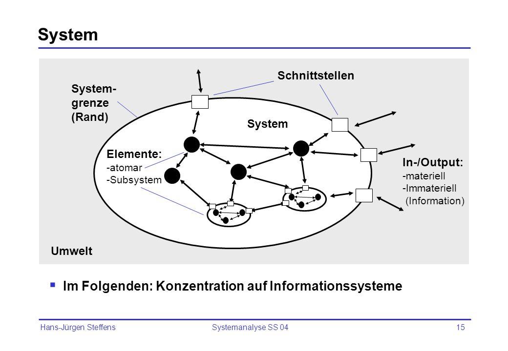 System Im Folgenden: Konzentration auf Informationssysteme