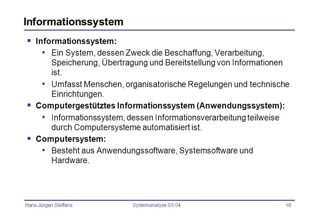 Informationssystem Informationssystem: