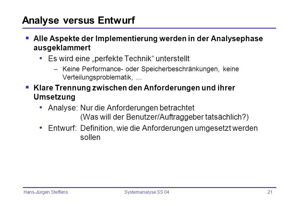 Analyse versus Entwurf