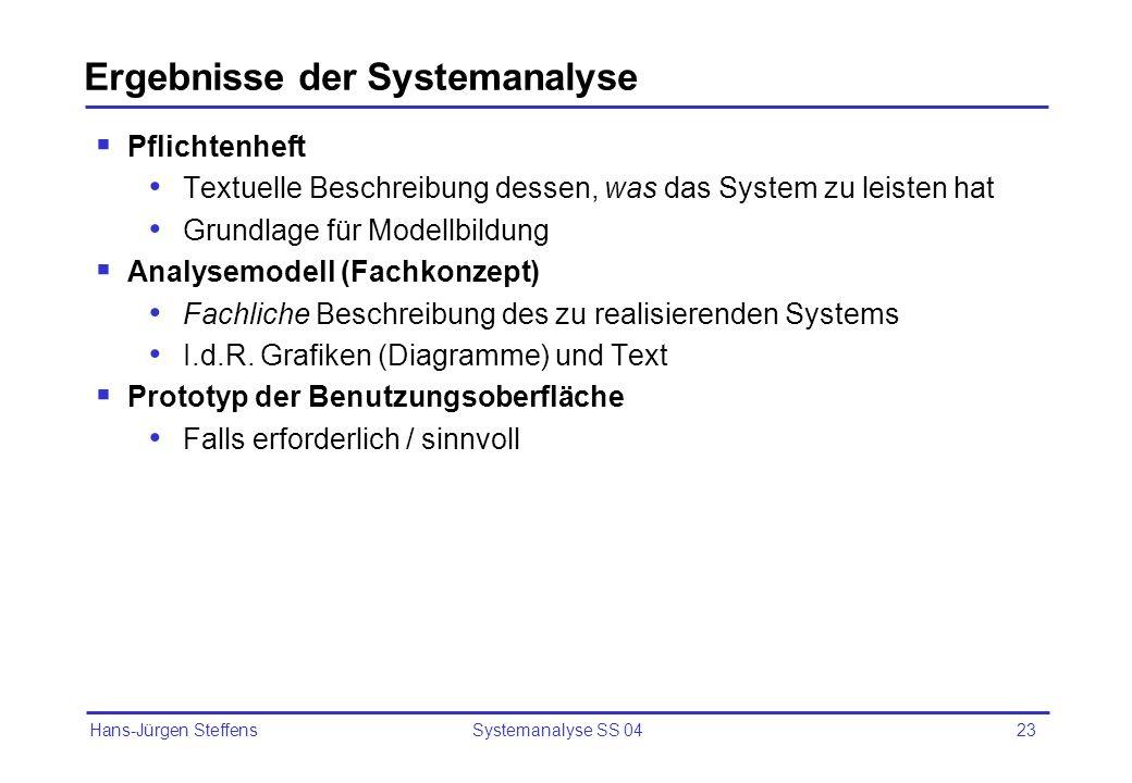 Ergebnisse der Systemanalyse
