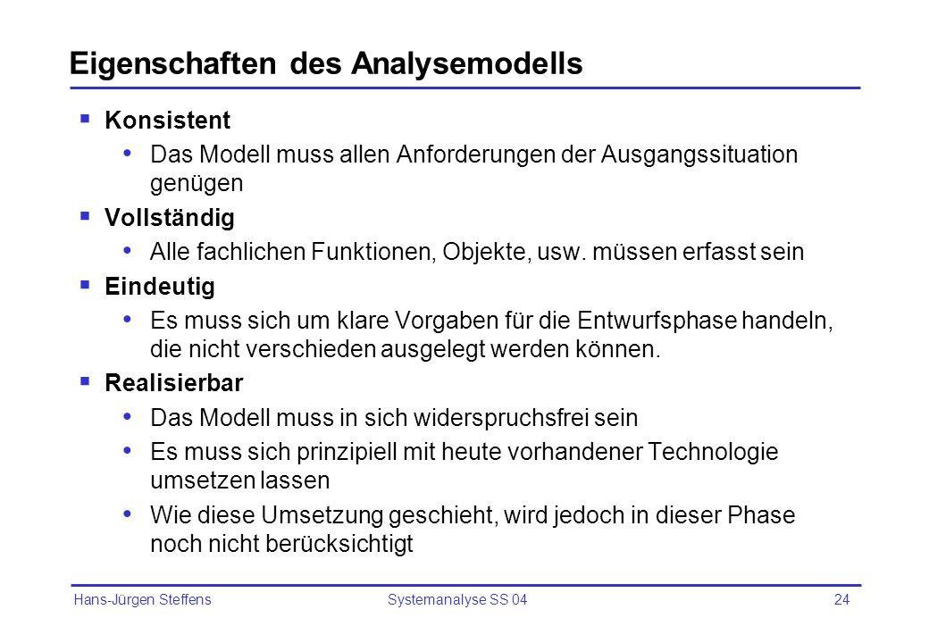 Eigenschaften des Analysemodells