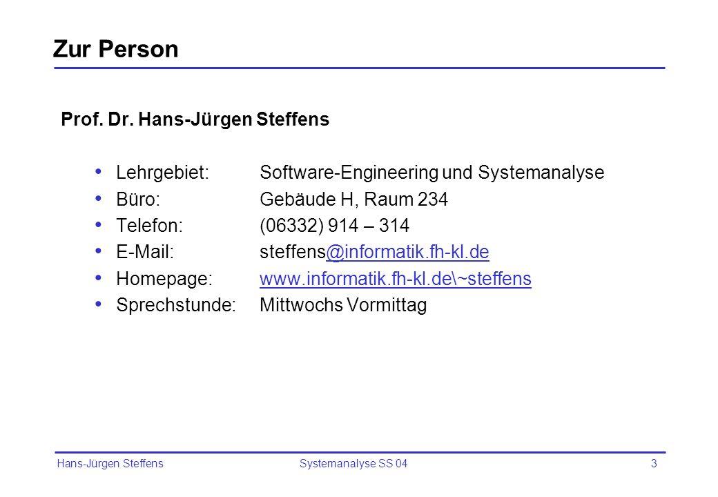 Zur Person Prof. Dr. Hans-Jürgen Steffens