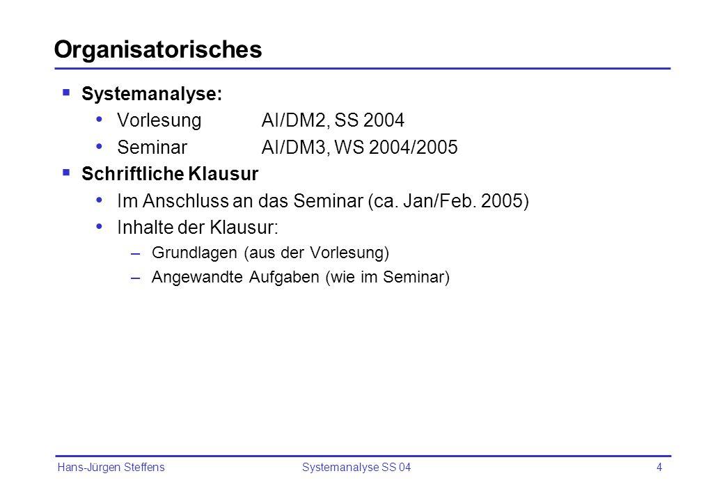 Organisatorisches Systemanalyse: Vorlesung AI/DM2, SS 2004