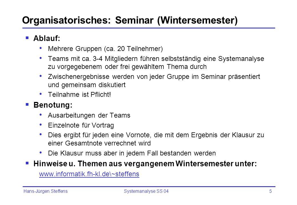 Organisatorisches: Seminar (Wintersemester)