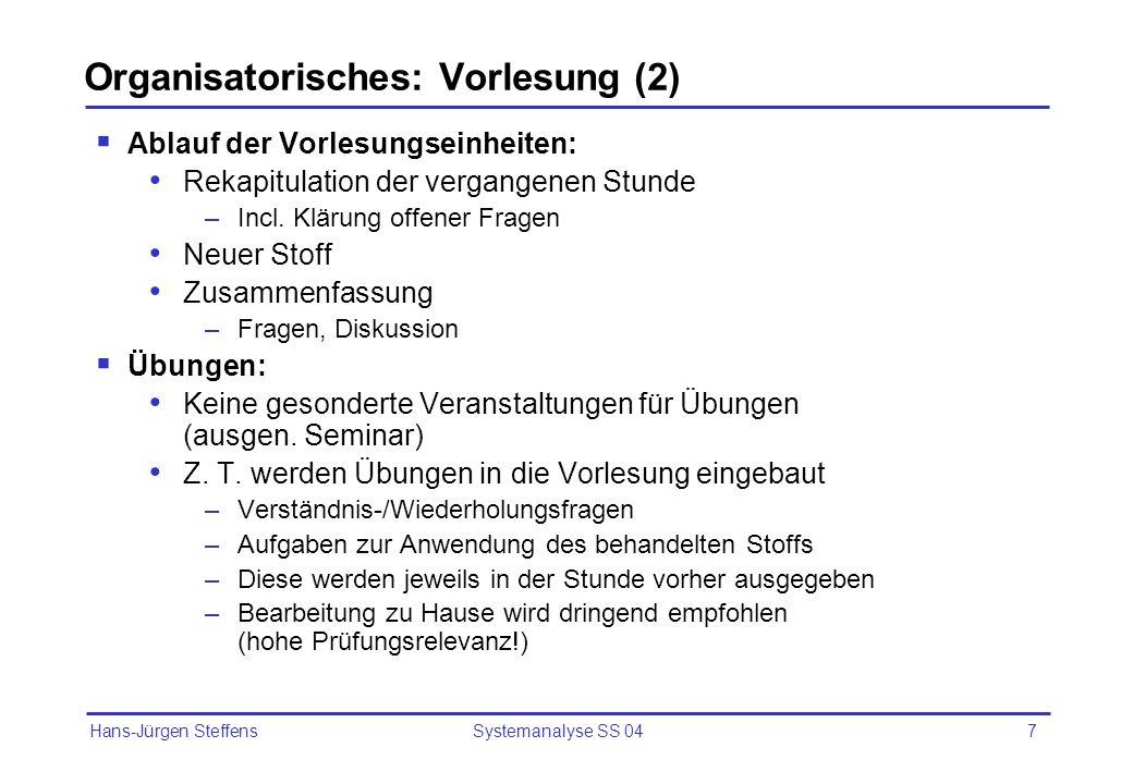 Organisatorisches: Vorlesung (2)
