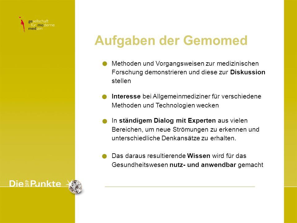 Aufgaben der Gemomed Methoden und Vorgangsweisen zur medizinischen Forschung demonstrieren und diese zur Diskussion stellen.