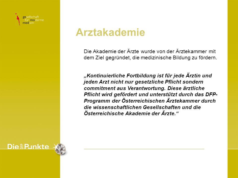 Arztakademie Die Akademie der Ärzte wurde von der Ärztekammer mit dem Ziel gegründet, die medizinische Bildung zu fördern.