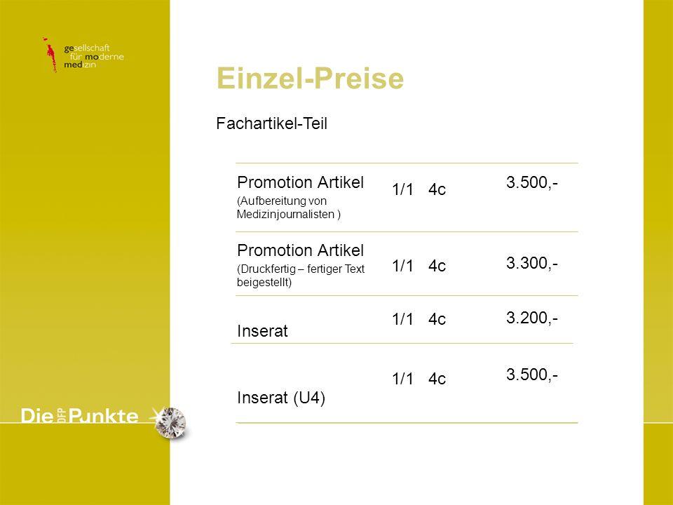 Einzel-Preise Fachartikel-Teil Promotion Artikel Inserat Inserat (U4)