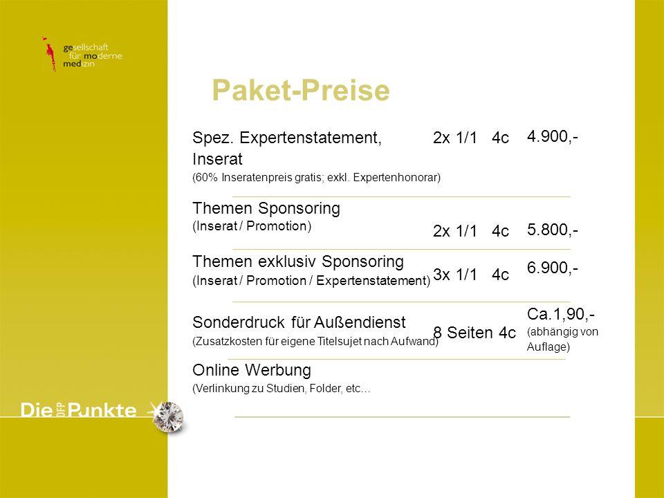 Paket-Preise Spez. Expertenstatement, Inserat Themen Sponsoring