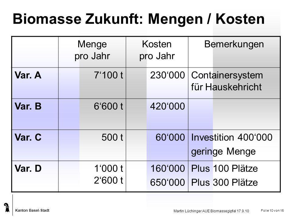 Biomasse Zukunft: Mengen / Kosten