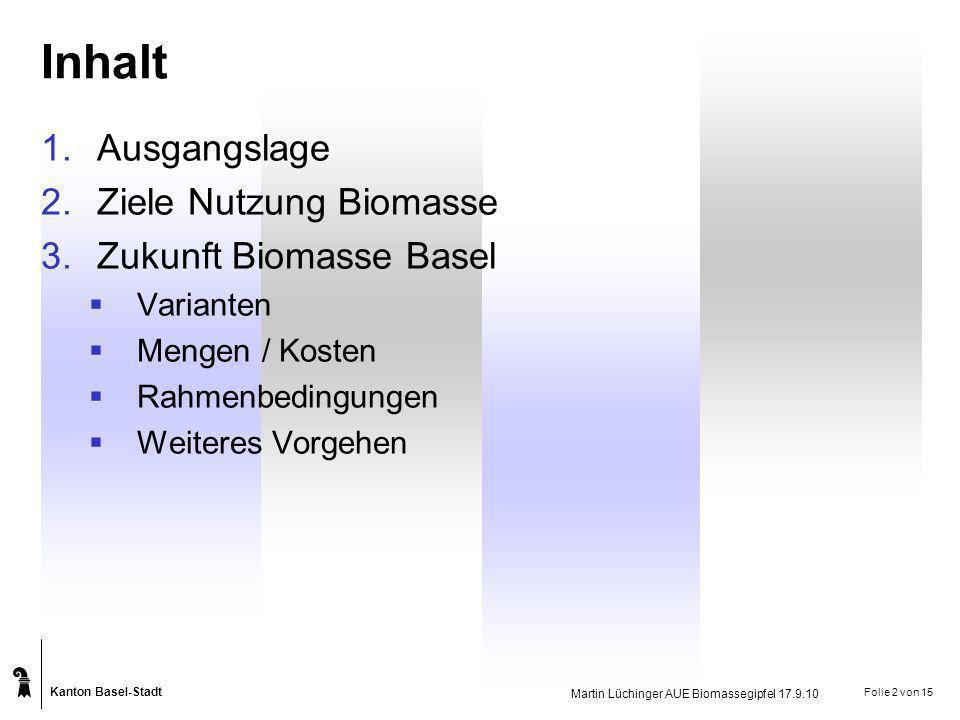 Inhalt Ausgangslage Ziele Nutzung Biomasse Zukunft Biomasse Basel