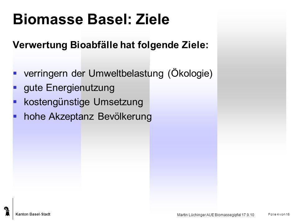 Biomasse Basel: Ziele Verwertung Bioabfälle hat folgende Ziele: