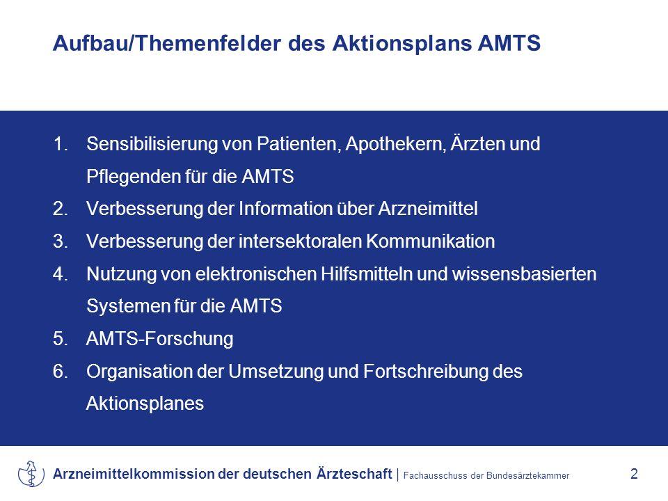 Aufbau/Themenfelder des Aktionsplans AMTS