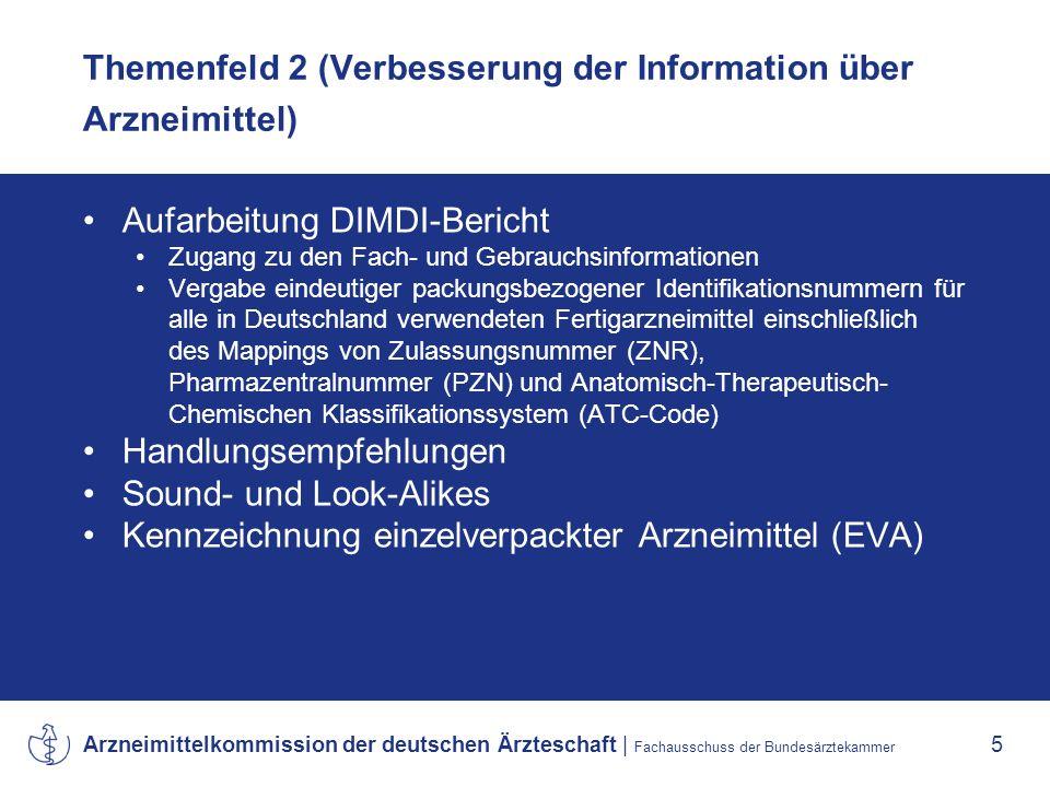 Themenfeld 2 (Verbesserung der Information über Arzneimittel)