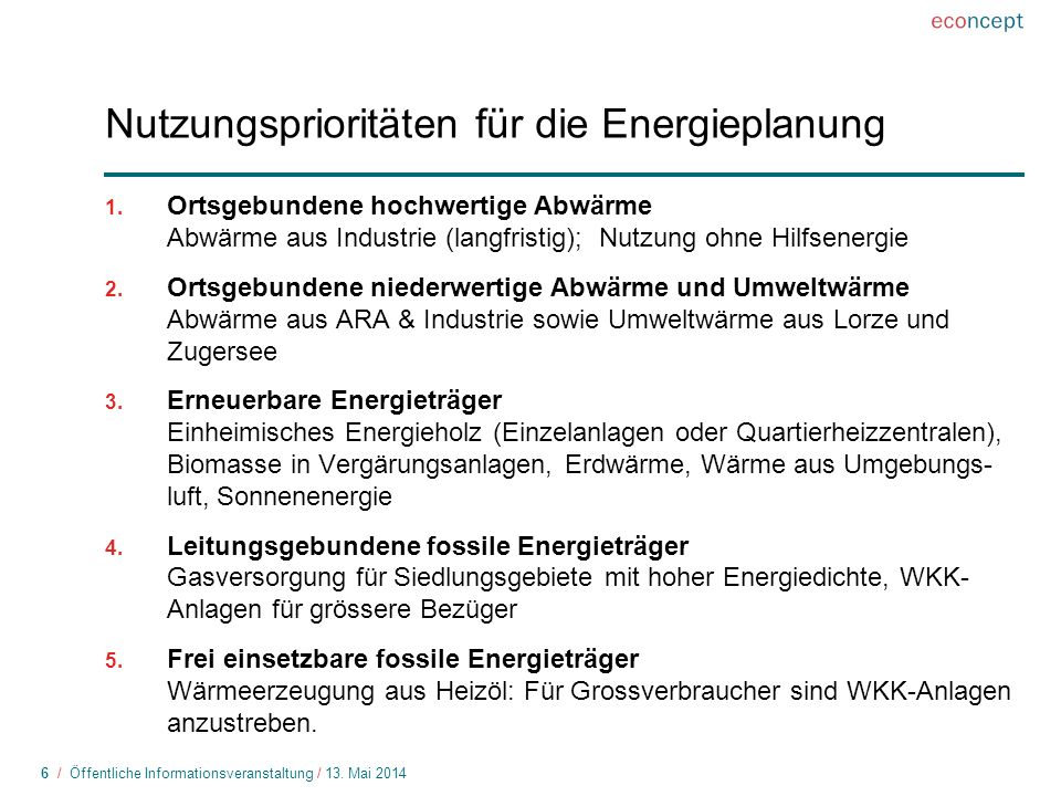 Nutzungsprioritäten für die Energieplanung
