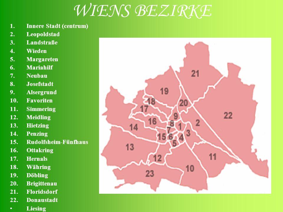 WIENS BEZIRKE Innere Stadt (centrum) Leopoldstad Landstraße Wieden