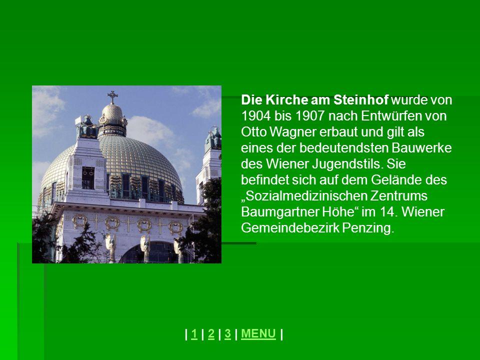 """Die Kirche am Steinhof wurde von 1904 bis 1907 nach Entwürfen von Otto Wagner erbaut und gilt als eines der bedeutendsten Bauwerke des Wiener Jugendstils. Sie befindet sich auf dem Gelände des """"Sozialmedizinischen Zentrums Baumgartner Höhe im 14. Wiener Gemeindebezirk Penzing."""