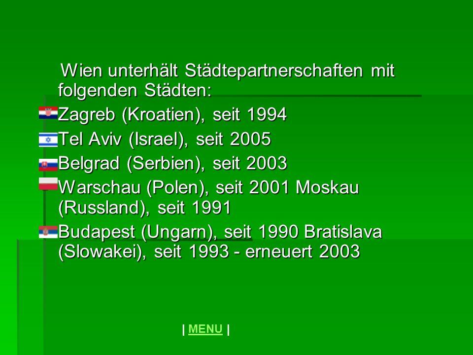 Wien unterhält Städtepartnerschaften mit folgenden Städten: