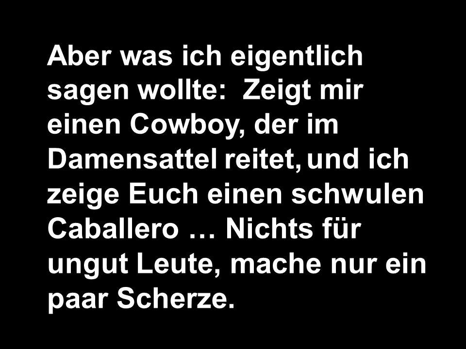 Aber was ich eigentlich sagen wollte: Zeigt mir einen Cowboy, der im Damensattel reitet, und ich zeige Euch einen schwulen Caballero … Nichts für ungut Leute, mache nur ein paar Scherze.
