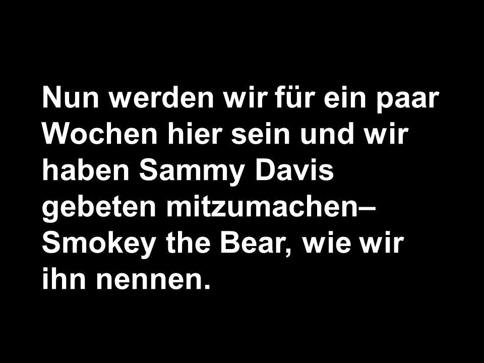 Nun werden wir für ein paar Wochen hier sein und wir haben Sammy Davis gebeten mitzumachen– Smokey the Bear, wie wir ihn nennen.