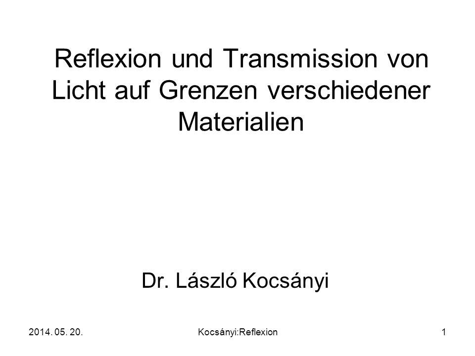 Reflexion und Transmission von Licht auf Grenzen verschiedener Materialien