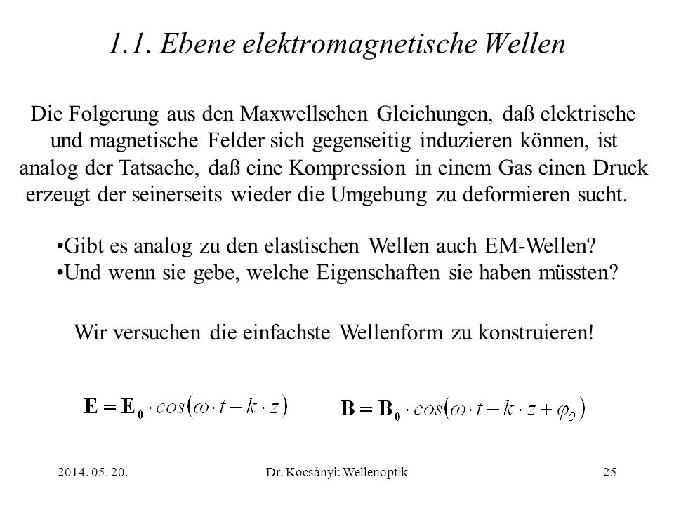 1.1. Ebene elektromagnetische Wellen