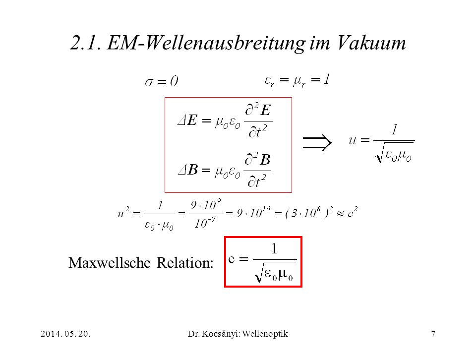 2.1. EM-Wellenausbreitung im Vakuum
