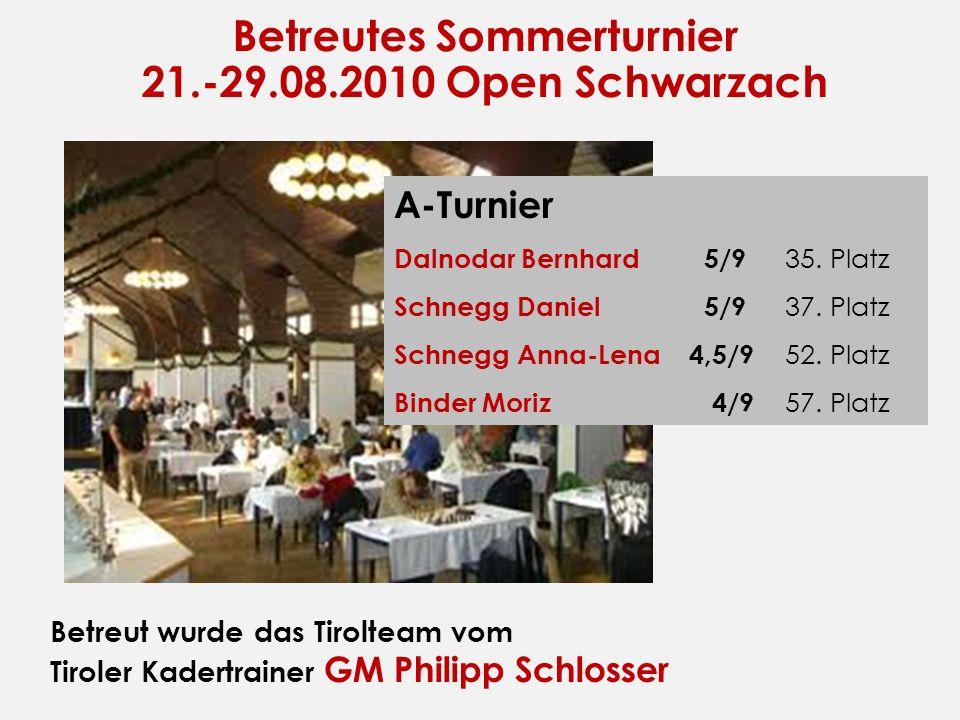 Betreutes Sommerturnier 21.-29.08.2010 Open Schwarzach