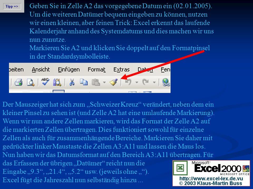 Geben Sie in Zelle A2 das vorgegebene Datum ein (02. 01. 2005)