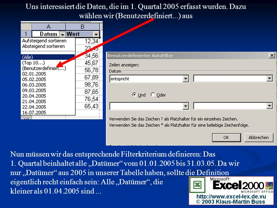 Uns interessiert die Daten, die im 1. Quartal 2005 erfasst wurden