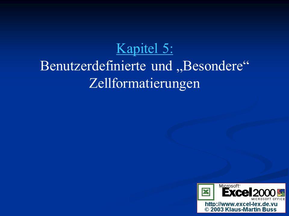 """Kapitel 5: Benutzerdefinierte und """"Besondere Zellformatierungen"""