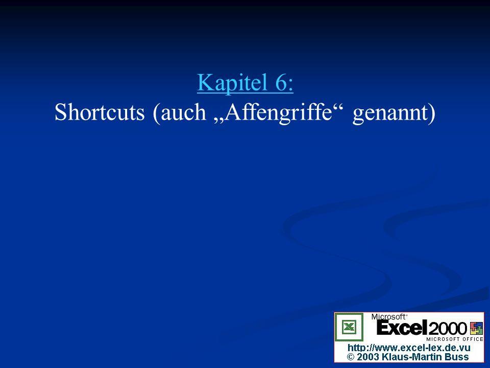 "Kapitel 6: Shortcuts (auch ""Affengriffe genannt)"