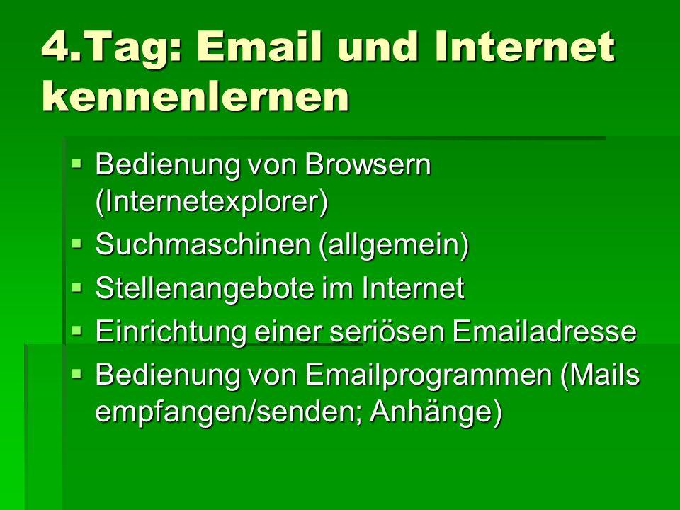 4.Tag: Email und Internet kennenlernen