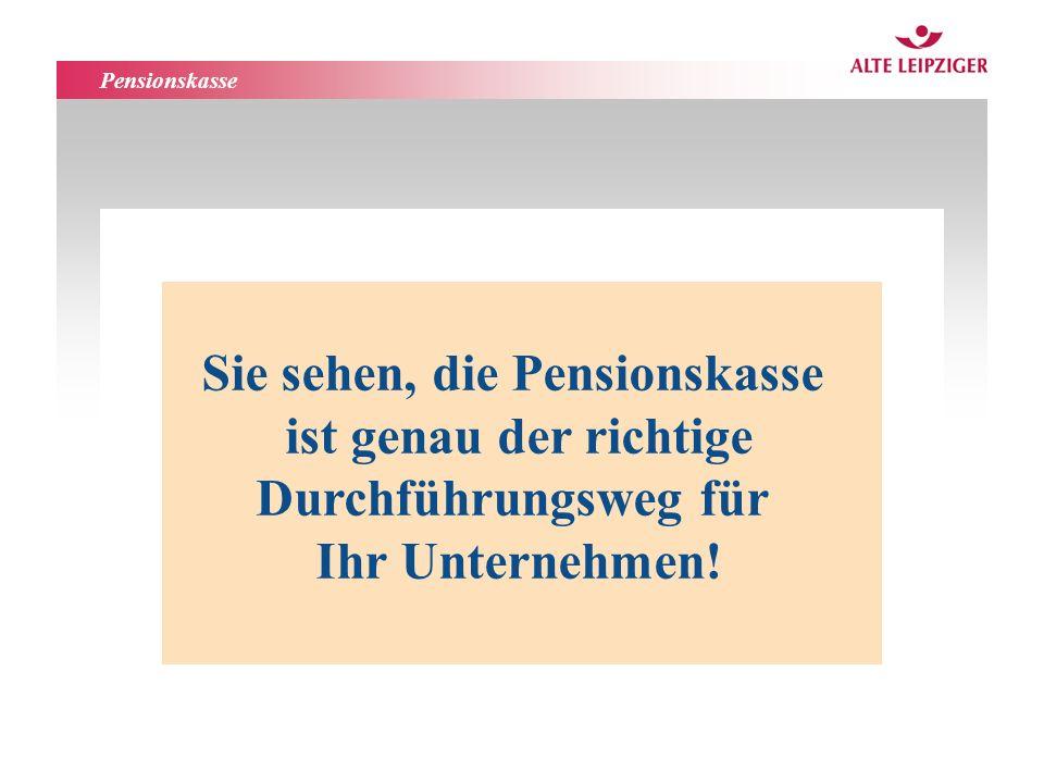 Pensionskasse Sie sehen, die Pensionskasse ist genau der richtige Durchführungsweg für Ihr Unternehmen!