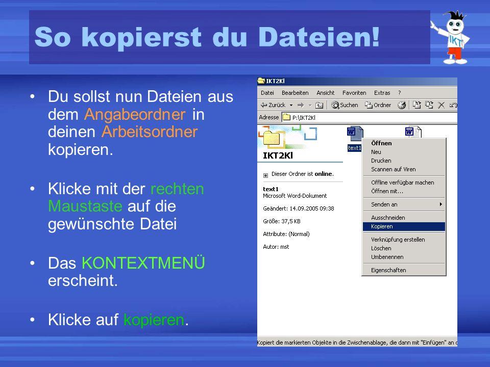 So kopierst du Dateien! Du sollst nun Dateien aus dem Angabeordner in deinen Arbeitsordner kopieren.