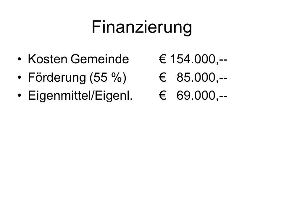 Finanzierung Kosten Gemeinde € 154.000,-- Förderung (55 %) € 85.000,--