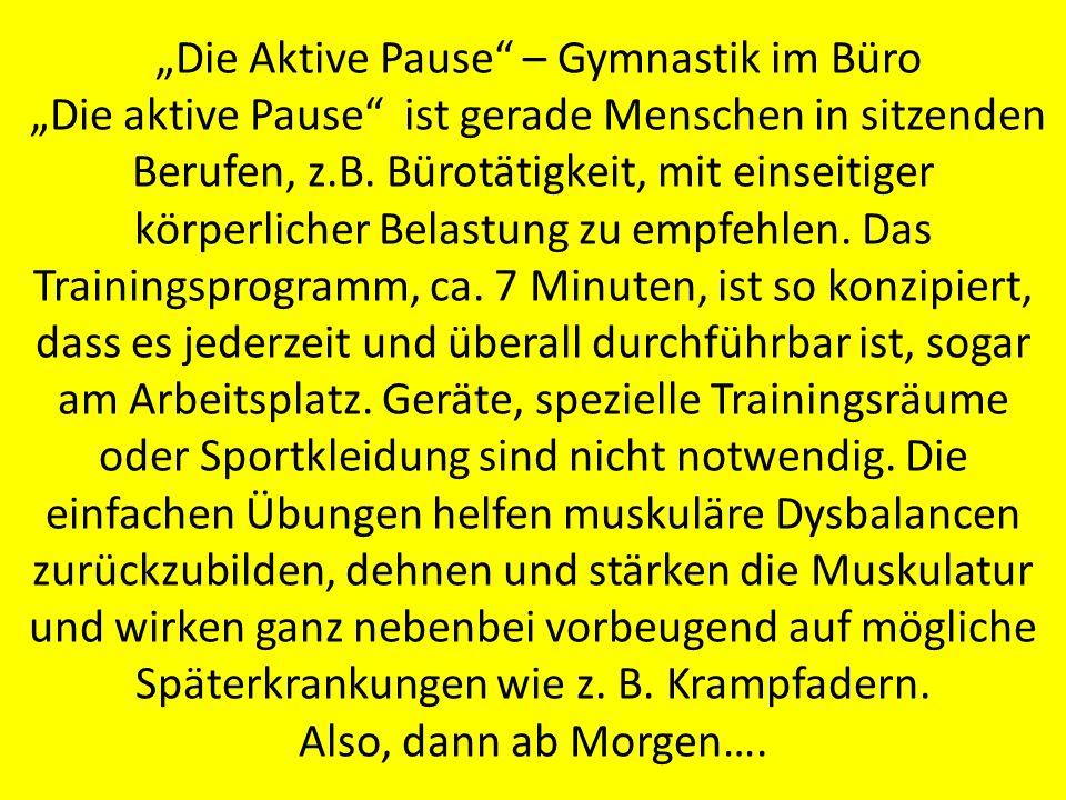"""""""Die Aktive Pause – Gymnastik im Büro"""