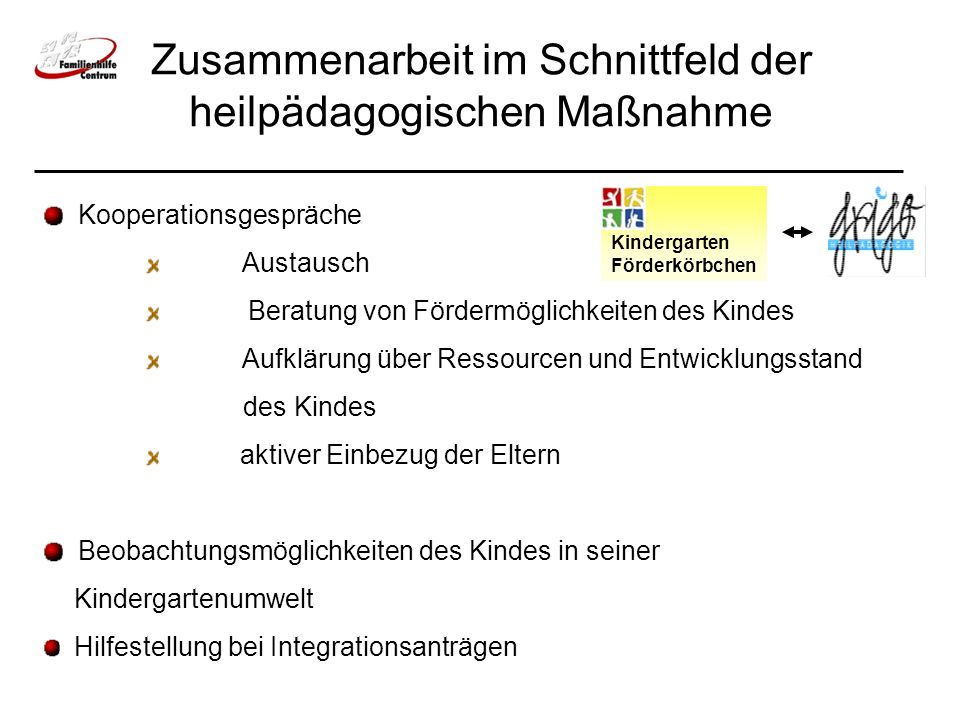 Zusammenarbeit im Schnittfeld der heilpädagogischen Maßnahme