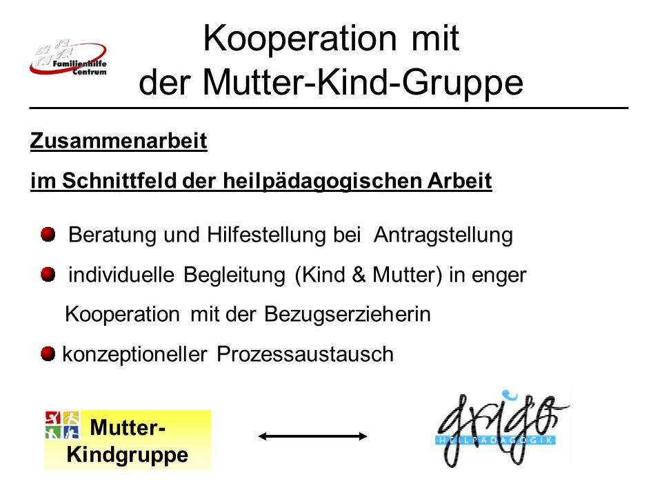 Kooperation mit der Mutter-Kind-Gruppe