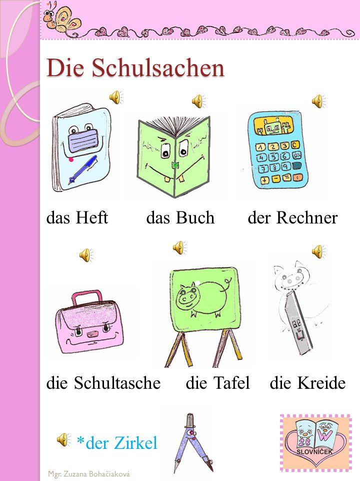 Die Schulsachen das Heft das Buch der Rechner
