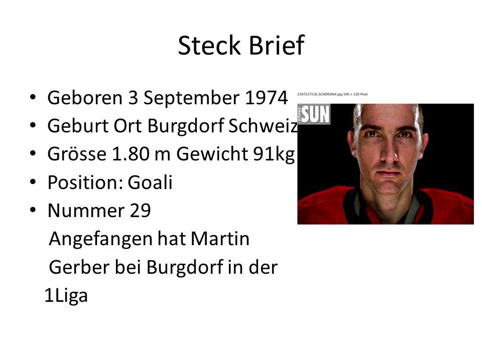 Steck Brief Geboren 3 September 1974 Geburt Ort Burgdorf Schweiz