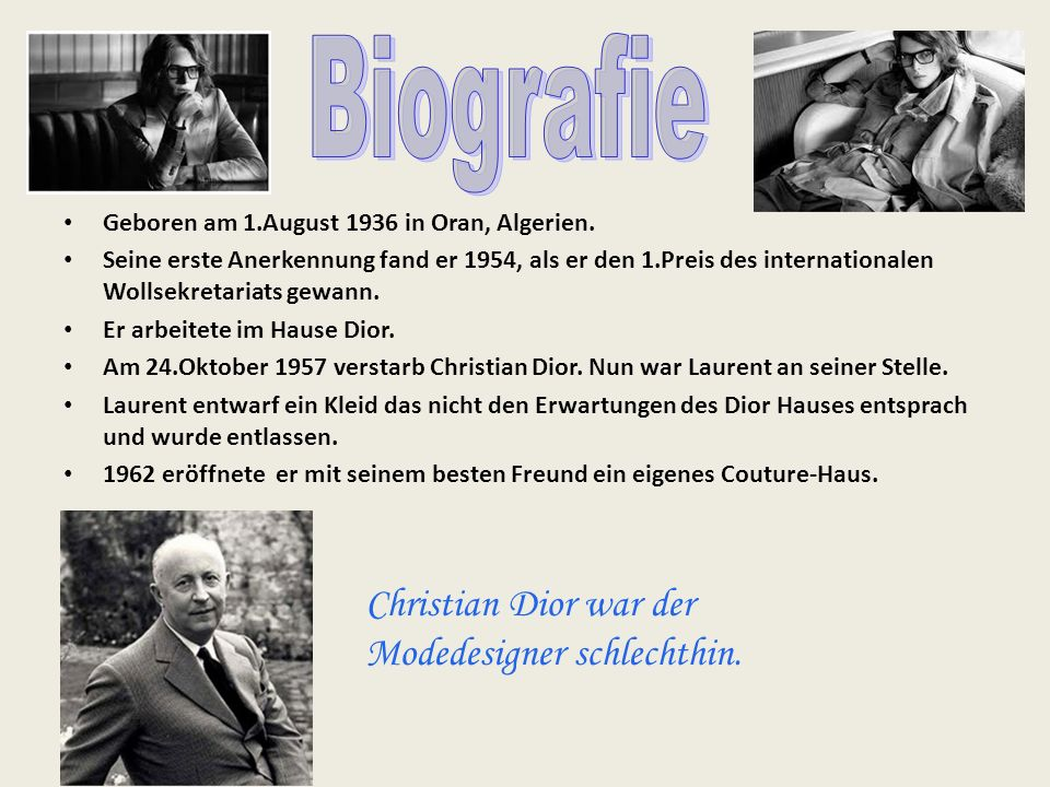 Biografie Christian Dior war der Modedesigner schlechthin.