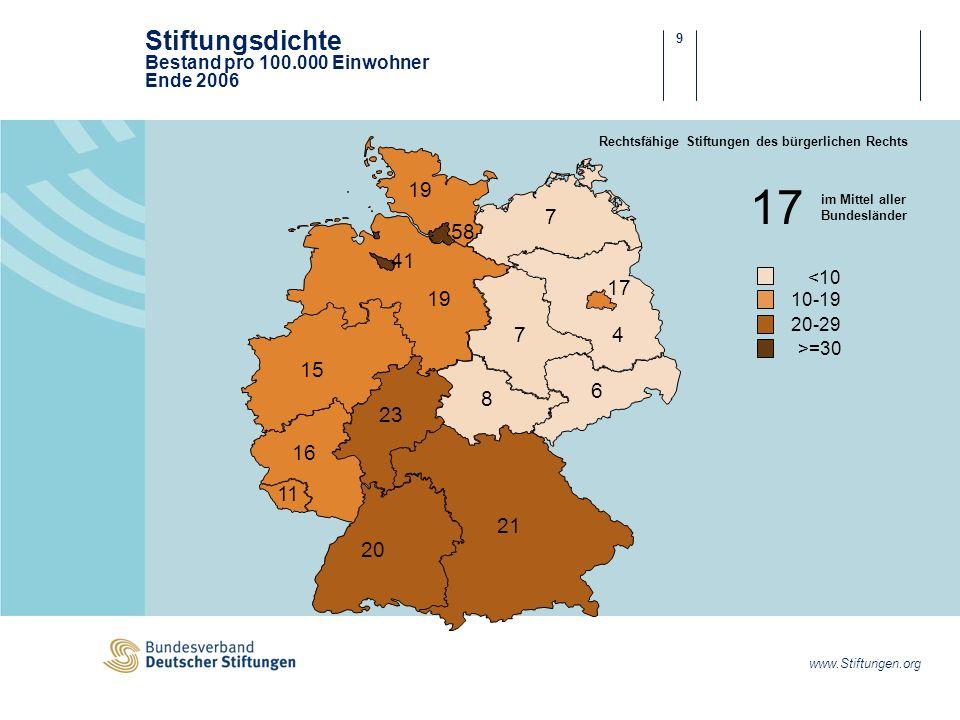 Stiftungsdichte Bestand pro 100.000 Einwohner Ende 2006